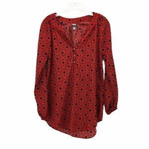 Mud Pie Womens Tunic Top Red Black Size S
